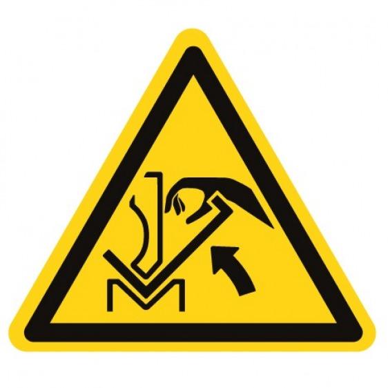 Pictogramme danger écrasement de la main entre une presse plieuse et le matériau ISO7010-W031