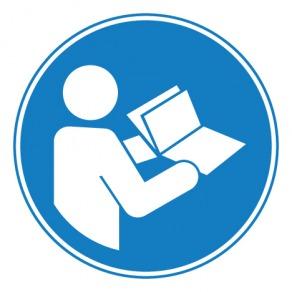 Pictogramme obligation de consulter le manuel/la notice d'instructions ISO7010-M002