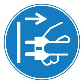 Pictogramme obligation débrancher la prise d'alimentation du secteur ISO7010-M006