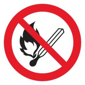 Pictogramme flammes nues interdites ISO7010-P003