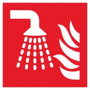 Pictogramme système d'extinction d'incendie par brouillard d'eau ISO7010-F011